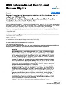 Gender inequity and age-appropriate immunization coverage in India from 1992 to 2006