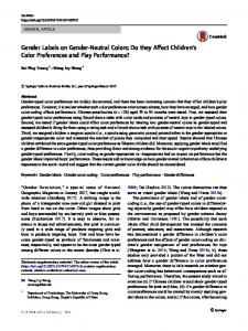 Gender Labels on Gender-Neutral Colors: Do they Affect Children's Color Preferences and Play Performance?