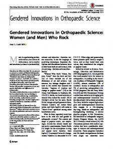 Gendered Innovations in Orthopaedic Science: Women (and Men) Who Rock