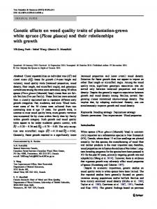 Genetic effects on wood quality traits of plantation-grown white spruce (Picea glauca) and their relationships with growth