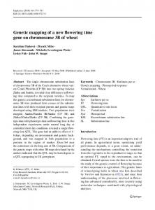 Genetic mapping of a new flowering time gene on chromosome 3B of wheat