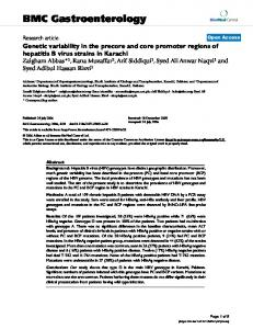 Genetic variability in the precore and core promoter regions of hepatitis B virus strains in Karachi