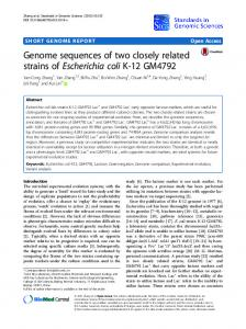 Genome sequences of two closely related strains of Escherichia coli K-12 GM4792