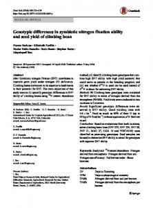 Genotypic differences in symbiotic nitrogen fixation ability and seed yield of climbing bean
