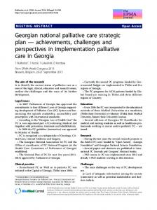 Georgian national palliative care strategic plan — achievements, challenges and perspectives in implementation palliative care in Georgia