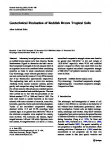 Geotechnical Evaluation of Reddish Brown Tropical Soils