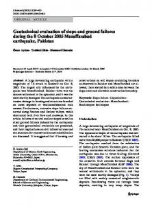 Geotechnical evaluation of slope and ground failures during the 8 October 2005 Muzaffarabad earthquake, Pakistan