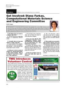 Get Involved: Diana Farkas, Computational Materials Science and Engineering Committee
