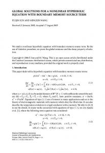 Global solutions for a nonlinear hyperbolic equation with boundary memory source term