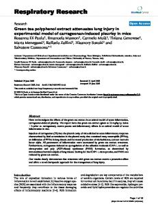 Green tea polyphenol extract attenuates lung injury in experimental model of carrageenan-induced pleurisy in mice