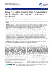 Group X secreted phospholipase A2 induces lipid droplet formation and prolongs breast cancer cell survival