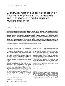 Growth, sporulation and toxin production byBacillus thuringiensis subsp.israelensis andB. sphaericus in media based on mustard-seed meal
