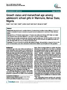 Growth status and menarcheal age among adolescent school girls in Wannune, Benue State, Nigeria