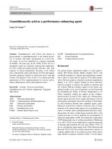 Guanidinoacetic acid as a performance-enhancing agent