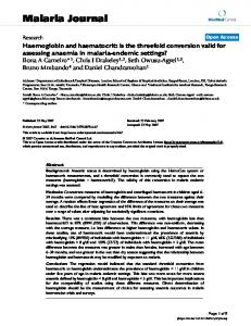 Haemoglobin and haematocrit: is the threefold conversion valid for assessing anaemia in malaria-endemic settings?