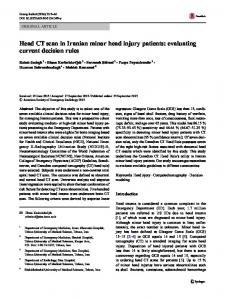 Head CT scan in Iranian minor head injury patients: evaluating current decision rules