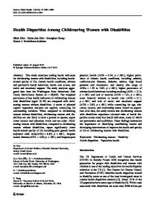Health Disparities Among Childrearing Women with Disabilities