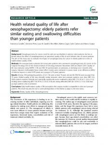 Health related quality of life after oesophagectomy: elderly patients refer similar eating and swallowing difficulties than younger patients