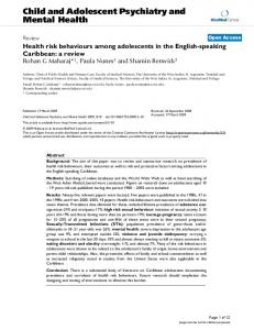 Health risk behaviours among adolescents in the English-speaking Caribbean: a review