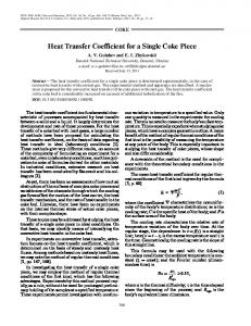Heat transfer coefficient for a single coke piece