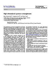 High dimensional quantum entanglement