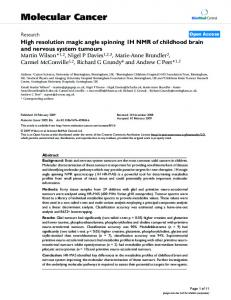 High resolution magic angle spinning 1H NMR of childhood brain and nervous system tumours