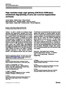 High resolution-magic angle spinning (HR-MAS) NMR-based metabolomic fingerprinting of early and recurrent hepatocellular carcinoma