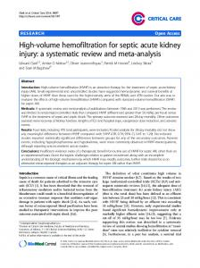 High-volume hemofiltration for septic acute kidney injury: a systematic review and meta-analysis