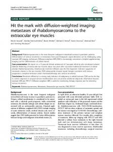 Hit the mark with diffusion-weighted imaging: metastases of rhabdomyosarcoma to the extraocular eye muscles