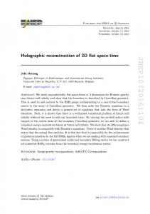 Holographic reconstruction of 3D flat space-time