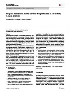 Hospital admissions due to adverse drug reactions in the elderly. A meta-analysis