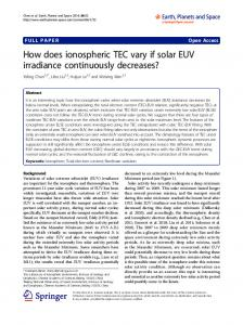 How does ionospheric TEC vary if solar EUV irradiance continuously decreases?