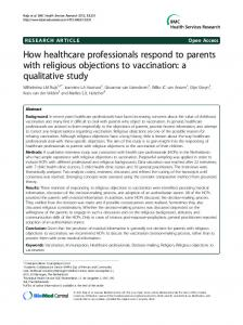 How healthcare professionals respond to parents with religious objections to vaccination: a qualitative study