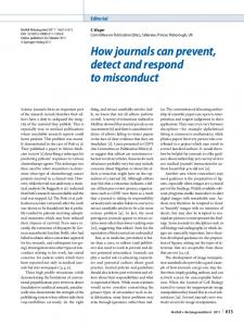 How journals can prevent, detect and respond to misconduct
