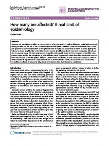 How many are affected? A real limit of epidemiology