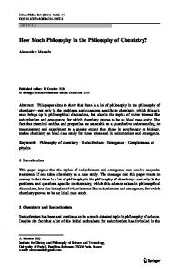 How Much Philosophy in the Philosophy of Chemistry?