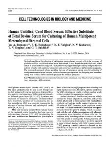 Human Umbilical Cord Blood Serum: Effective Substitute of Fetal Bovine Serum for Culturing of Human Multipotent Mesenchymal Stromal Cells