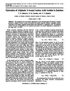 Hydration of Aliphatic N-Acetyl Amino Acid Amides in Solution