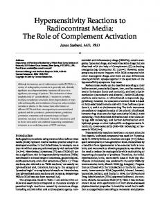 Hypersensitivity reactions to radiocontrast media: The role of complement activation