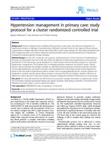 Hypertension management in primary care: study protocol for a cluster randomized controlled trial