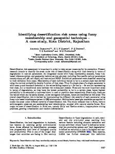 Identifying desertification risk areas using fuzzy membership and geospatial technique – A case study, Kota District, Rajasthan