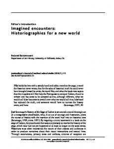 Imagined encounters: Historiographies for a new world