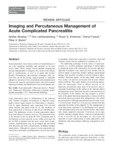 Imaging and Percutaneous Management of Acute Complicated Pancreatitis