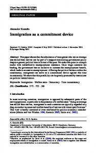 Immigration as a commitment device