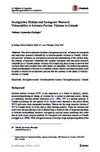 Immigration Policies and Immigrant Women's Vulnerability to Intimate Partner Violence in Canada