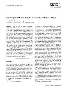 Immunological and genetic properties of Escherichia coli K12 argE mutants
