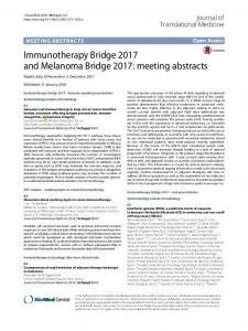 Immunotherapy Bridge 2017 and Melanoma Bridge 2017: meeting abstracts
