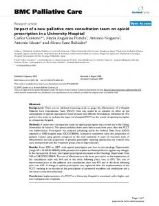 Impact of a new palliative care consultation team on opioid prescription in a University Hospital