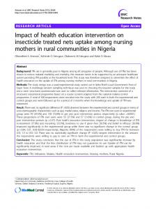 Impact of health education intervention on insecticide treated nets uptake among nursing mothers in rural communities in Nigeria