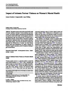 Impact of Intimate Partner Violence on Women's Mental Health